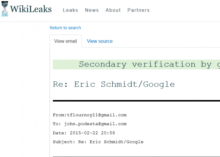 "WikiLeaks:  Google CEO Eric Schmidt Wanted to ""Do Business"" with Clinton Campaign"