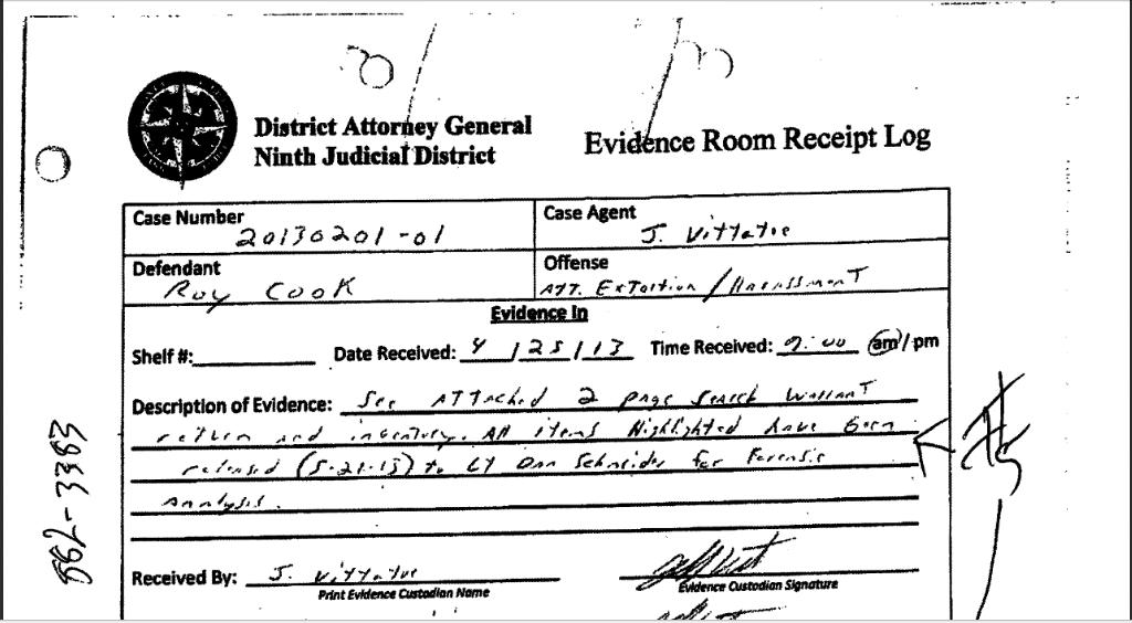 Roy Cook evidence log snip