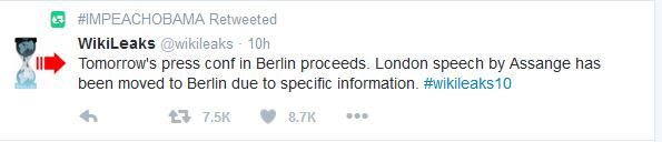 Wikileaks:  4:00 a.m. EDT Presser Scheduled from Berlin