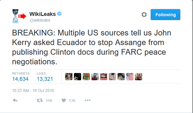 Wikileaks:  Obama's Secretary of State Pressured Ecuador to Prevent Clinton Document Releases