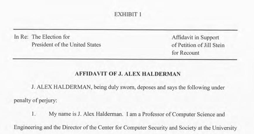 Halderman affidavit