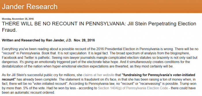 Exclusive:  PA Elections Official:  Dauphin County Official Says That Recounts are Time-Barred, Not Viable
