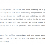 "WikiLeaks:  Politico Publishes Huma Abedin Story to Deflect from ""All the Email Stuff"" Emerging on Clinton"