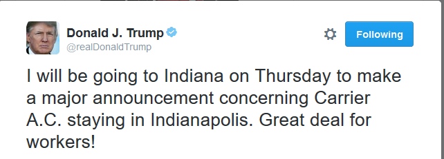 "Trump and Pence Announce ""Deal"" to Keep 1,000 Jobs in Indiana"