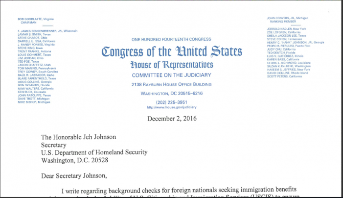 "House Judiciary Committee Not Notified of Problem in Background-Check System for ""Foreign Nationals"""