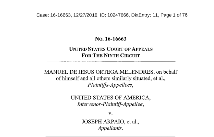 Sheriff Joseph Arpaio Appeals Contempt Ruling to Ninth Circuit Court of Appeals