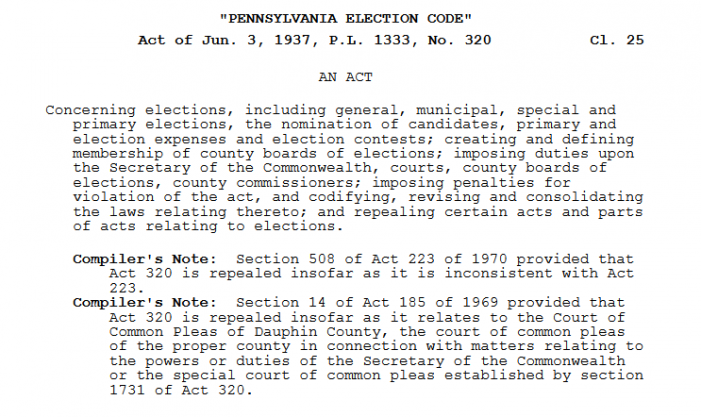 Pennsylvania Election Law Cited by Commonwealth Court; Stein Then Withdraws Election Contest