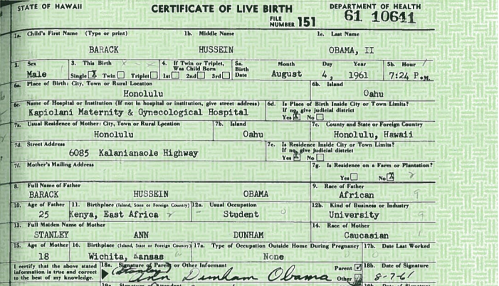 "Corsi Refers to Obama's Alleged ""Official 1961 Birth Records from Kenya"""