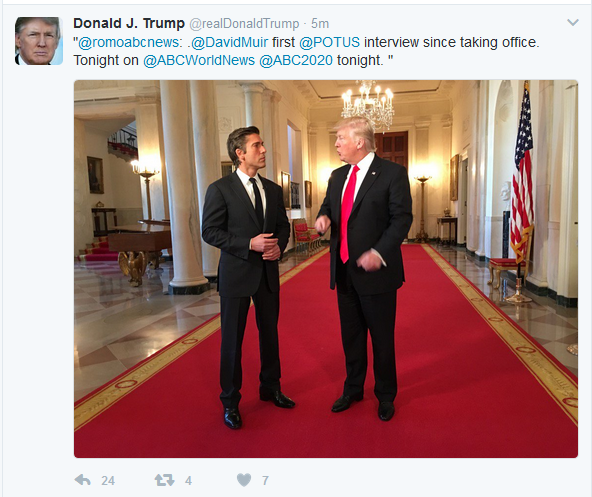"""Trump Announces """"First Interview"""" Airing on ABC Wednesday"""