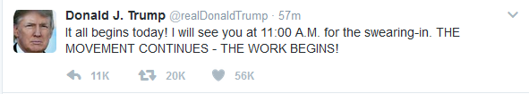 President-Elect Sends Pre-Inauguration Tweet