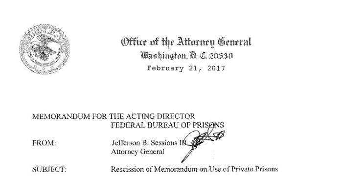 Attorney General Reverses Obama DOJ Directive on Private Prisons