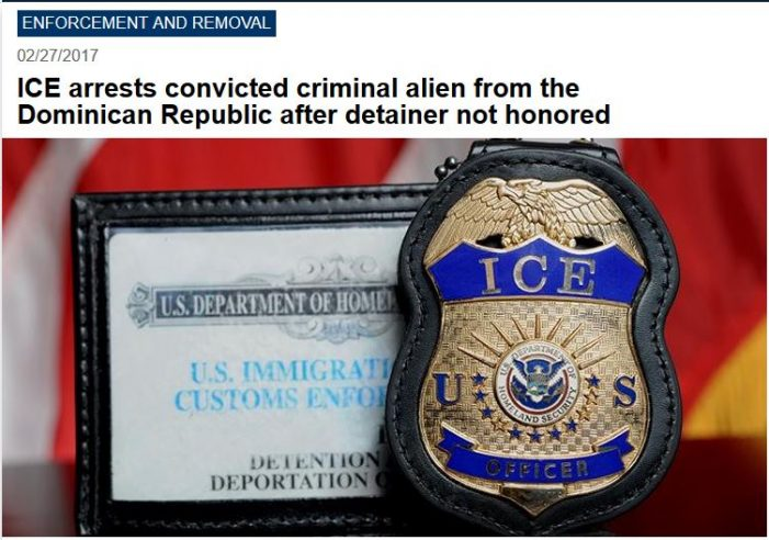 ICE:  New York City Released Three-Times-Deported Illegal Alien Convicted of Felonies