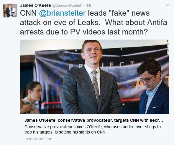 """James O'Keefe Accuses CNN of """"Fake News Attack"""""""