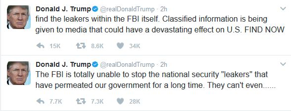 Trump Tweets Concerns Over FBI's Ability to Find Leakers
