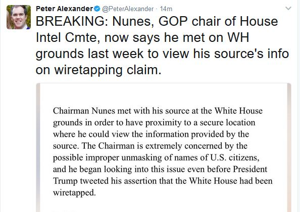"""Report:  House Intelligence Chair Met with Source on """"White House Grounds"""""""