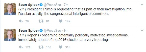 "White House Press Secretary Makes Statement on Alleged ""Politically Motivated Investigations"""
