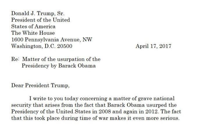 Letter to Trump Alleges Obama's Two-Time Usurpation of the Presidency Meriting Investigation