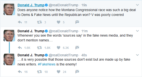 """Trump:  """"Fake News is the Enemy"""""""