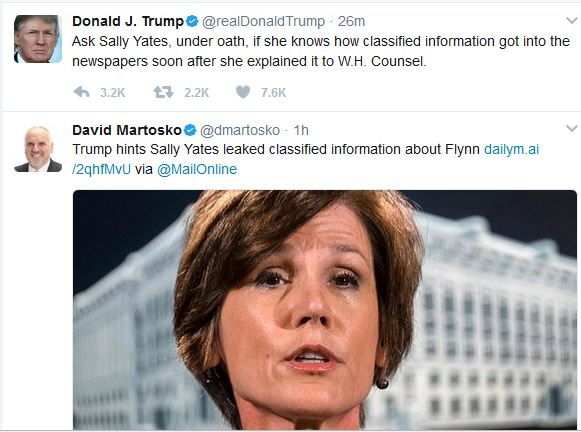 Trump Comments on Yates's Upcoming Hearing Monday Afternoon