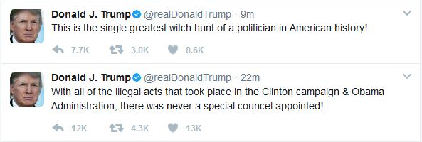 Trump Reacts to Appointment of Special Counsel for Russia Investigation