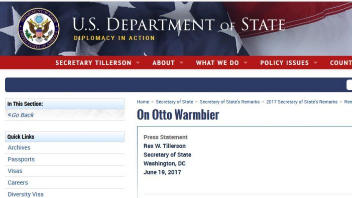 U.S. State Department Press Release on Otto Warmbier