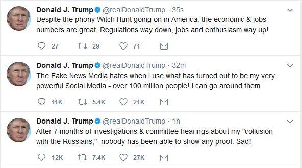 Trump Tweeting on Friday Morning