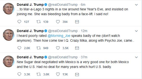 "Trump Tweets about ""Morning Joe"" Hosts"