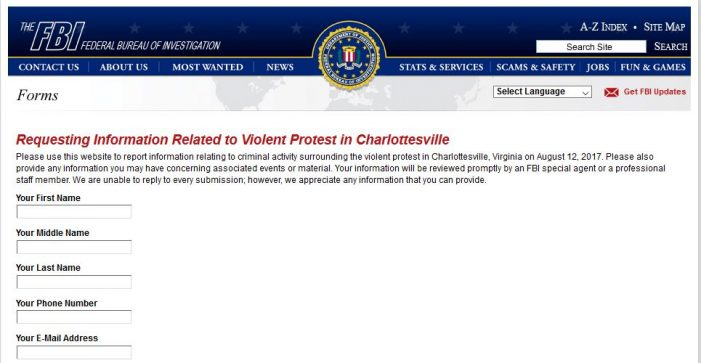 FBI Seeks Information on Charlottesville Protests