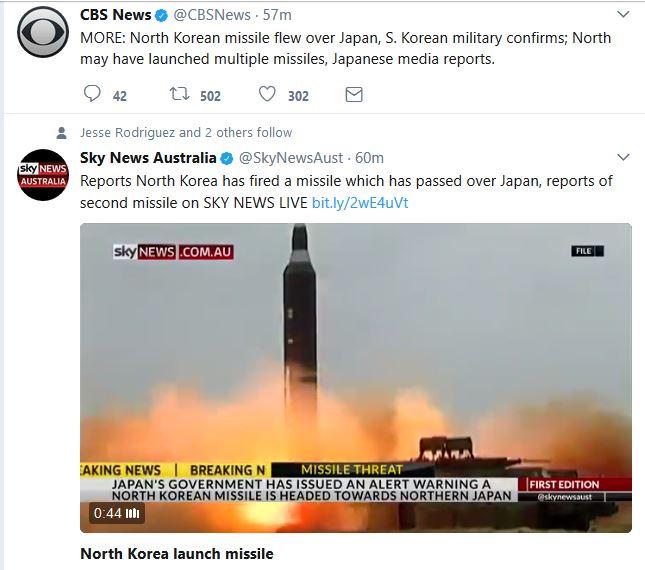 Reports:  North Korean Missile Flies over Japan, Breaks Apart into Pacific Ocean