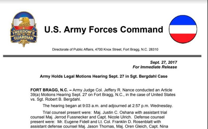 Army Holds Legal Motions Hearing Sept. 27 in Sgt. Bergdahl Case