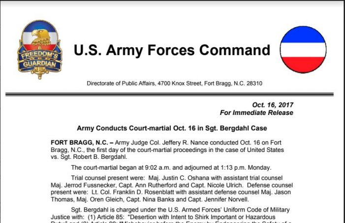 Forces Command media release – Army Conducts Court-martial Oct. 16 in Sgt. Bergdahl Case — Oct. 16, 2017, 2 p.m. (UNCLASSIFIED)