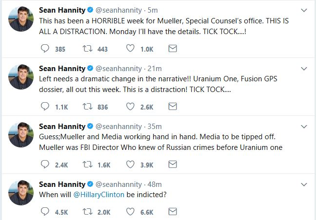 Hannity Promises More Information on Mueller Investigation Monday