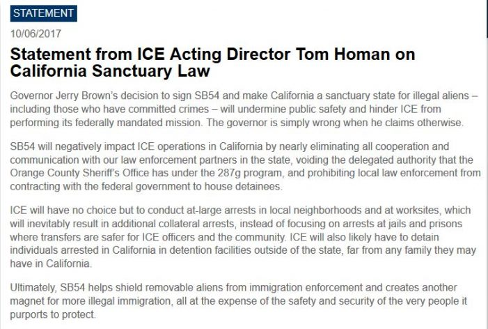 "ICE Responds to California ""Sanctuary State"" Law"