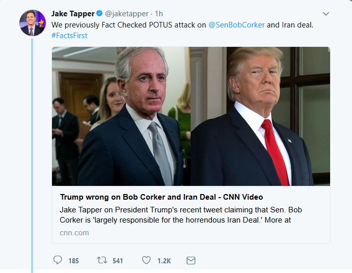 "CNN's Jake Tapper Now Touts ""Facts First"""