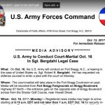 Forces Command media advisory – U.S. Army to Conduct Court-Martial Oct. 16 In Sgt. Bergdahl Legal Case