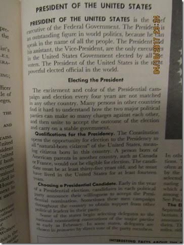 1958 World Book Encyclopedia:  A Person Born Outside the U.S. Cannot be President