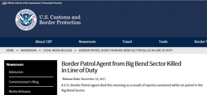 Border Patrol Agent Killed While on Duty, Another Seriously Injured