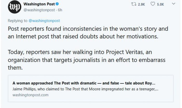 WaPo Accuses O'Keefe of Prompting Planting of Fake Story