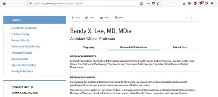 The Dangerous Case of Bandy Lee: Examining the Mental Health of the Mental Health Examiners