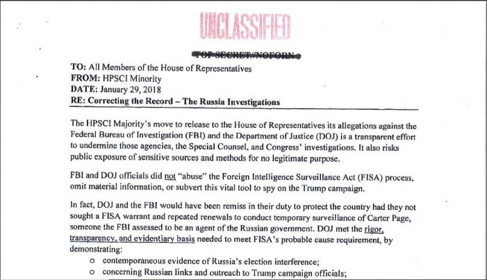 House Intel Committee Dems Release Counter-Memo