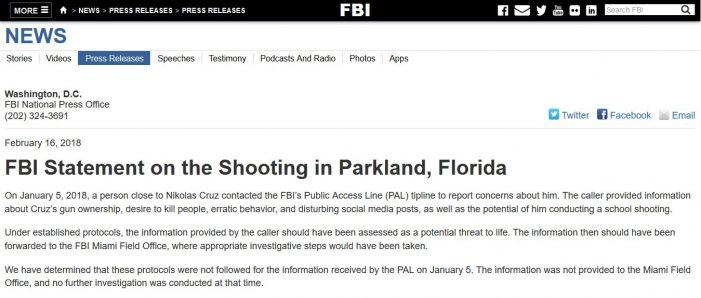 "FBI Admits ""Protocols Not Followed"" with Parkland School Assassin"