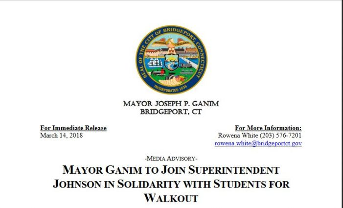 Mayor Ganim to Join Superintendent Johnson in Solidarity with Students for Walkout