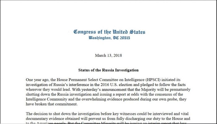 House Intel Committee Dems Issue Report on Russia Investigation