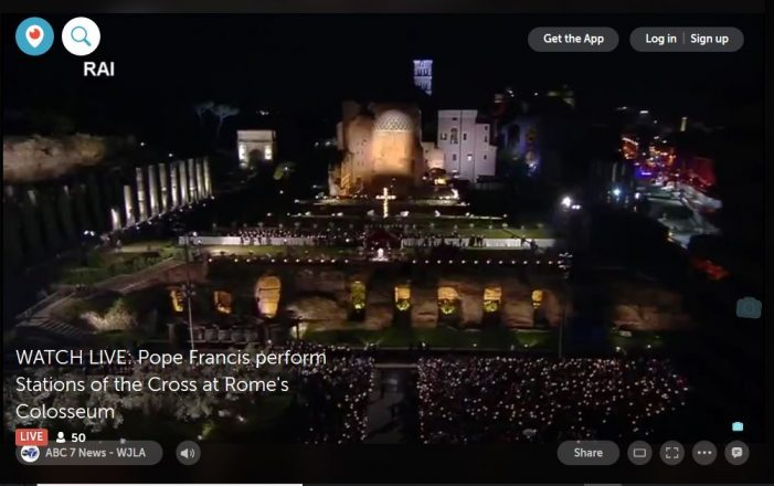 Live on Friday Afternoon:  Pope Commemorates Stations of the Cross