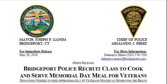 Bridgeport Police Recruit Class to Cook and Serve Memorial Day Meal for Veterans; Donations Needed