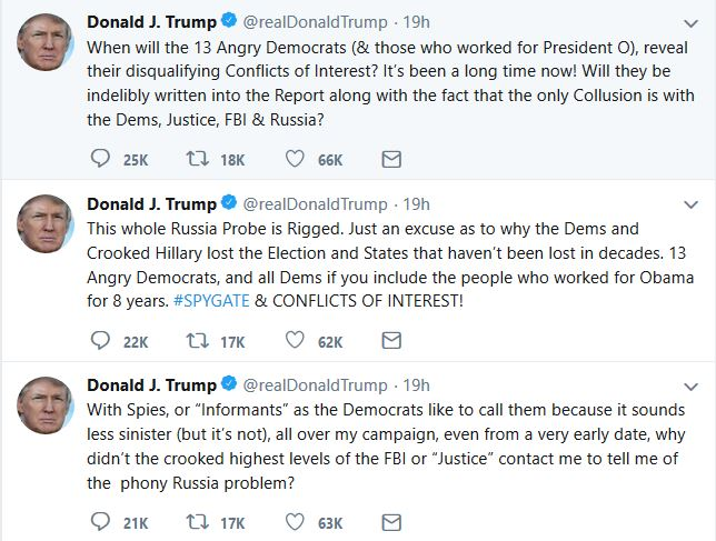 "Trump Claims ""Only Collusion"" Involves Democrats, Russia, U.S. Government Agencies"