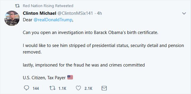Twitter User Asks Trump to Investigate Obama's Birth Certificate