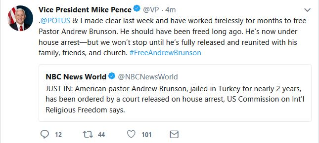 Pastor Andrew Brunson Released to House Arrest