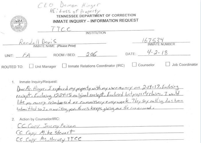 TTCC Inmate Reports Over $300 Property Loss, No Restitution