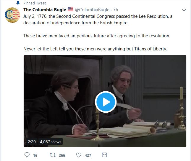 The Columbia Bugle Posts Dramatic Reenactment of States' Declaration of Independence